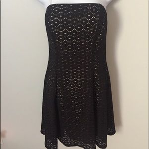 Jump Apparel Tube Top Black & Nude Lace Dress